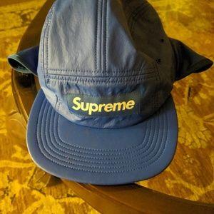 supreme primaloft earflap camp blue cap